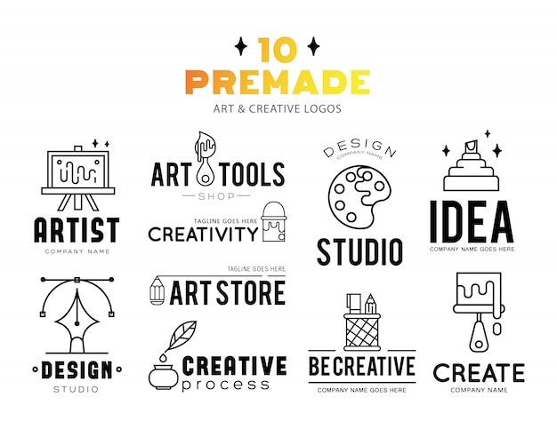 Art tools and materials for painting logo design. Free Vector