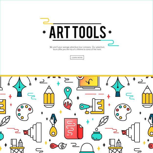 Art tools and materials for painting. Free Vector