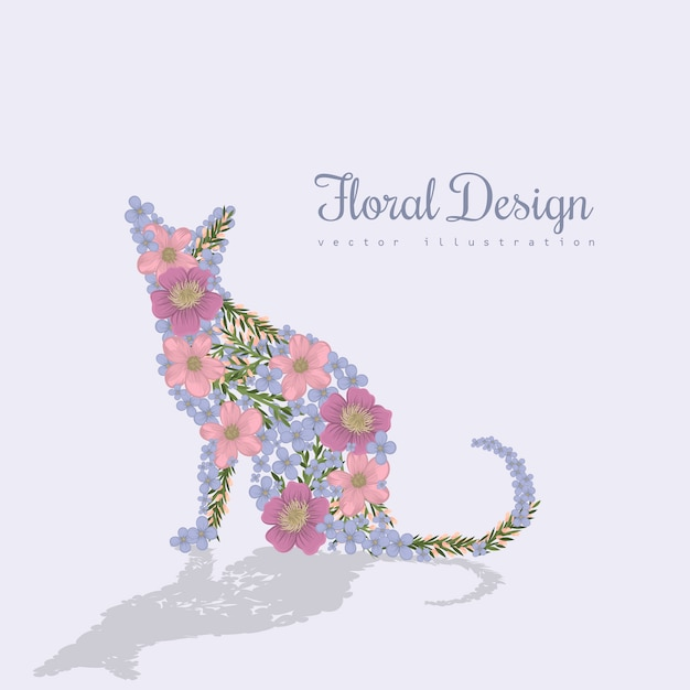 Art vector colorful illustration with beautiful cat and flowers. Premium Vector
