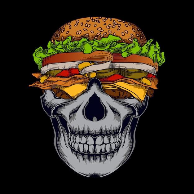 Иллюстрация и дизайн футболки человеческий череп бургер премиум Premium векторы
