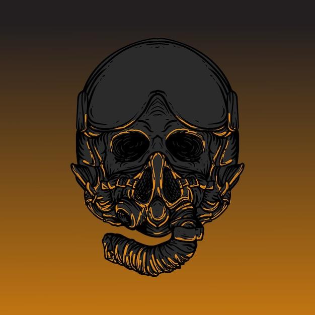 Художественное произведение иллюстрации дизайн череп с пилотным реактивным шлемом Premium векторы