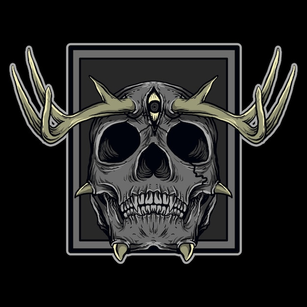 Art work illustration and t-shirt design devil skull deer horn Premium Vector