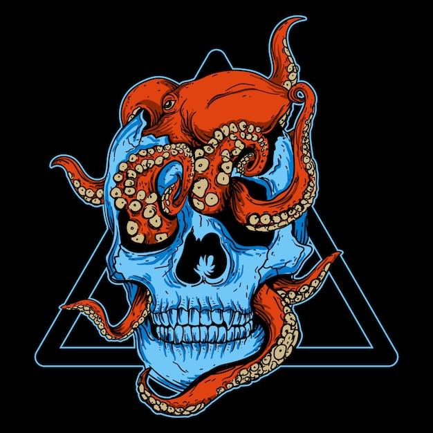 Art work illustration and t-shirt design octopus skull Premium Vector