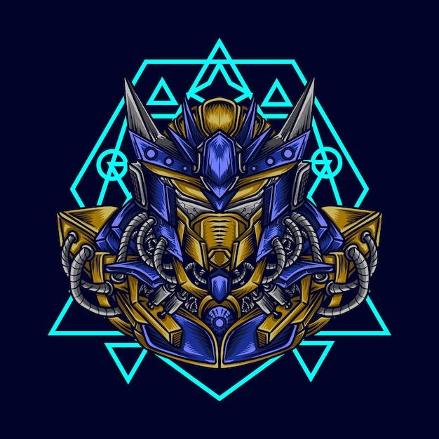 Art work illustration and t-shirt  mecha robot head with sacred geometry Premium Vector