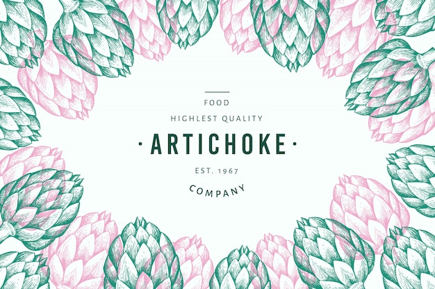 Artichoke vegetable design template Premium Vector