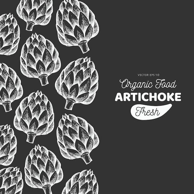 Артишок овощной шаблон. нарисованная рукой иллюстрация еды на доске мела. овощная рамка с гравировкой. ретро ботанический баннер. Premium векторы