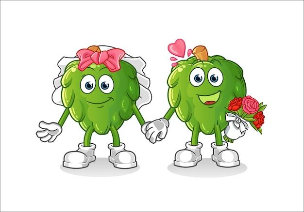 アーティチョークの結婚式の漫画。漫画のマスコット Premiumベクター