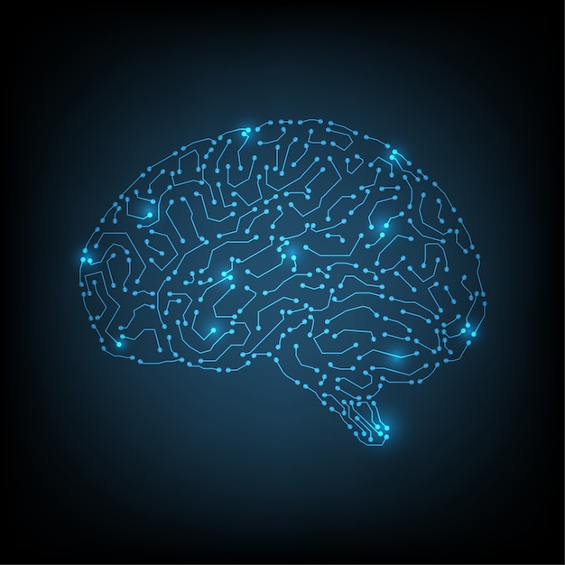 内部の人工サイバネティック回路脳 Premiumベクター