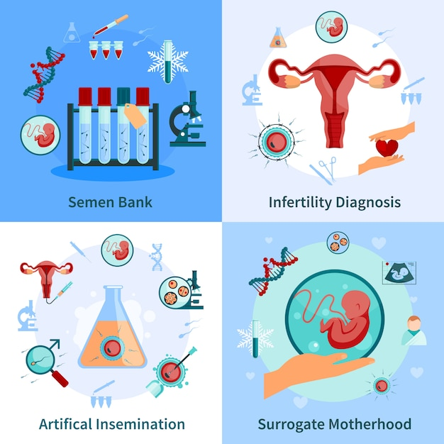 Artificial insemination concept icons set Free Vector