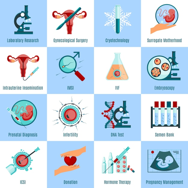 Artificial insemination square icons set Free Vector