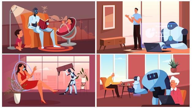 Искусственный интеллект как часть человеческого распорядка. домашний персональный робот для помощи людям. ai помогает людям в их жизни, концепции технологий будущего. набор иллюстраций Premium векторы