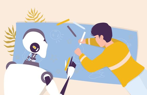 Искусственный интеллект как часть человеческого распорядка. домашний персональный робот, заботящийся о ребенке. ai помогает людям в их жизни, концепции технологий будущего. иллюстрация Premium векторы