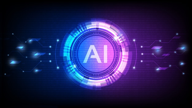 Artificial intelligence, ai analysis with circuit line Premium Vector