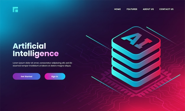 Artificial intelligence (ai) concept based landing page design with 3d ai web server on digital circuit background. Premium Vector