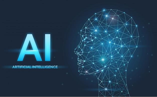 Искусственный интеллект, концепция ии, нейронные сети, силуэт лица Premium векторы