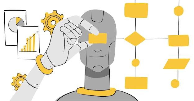 人工知能と処理-イラスト Premiumベクター