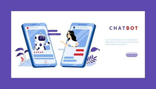 인공 지능과 미래 개념의 스마트 기술. 젊은 여자는 스마트 폰 화면에서 챗봇과 대화를합니다. 프리미엄 벡터