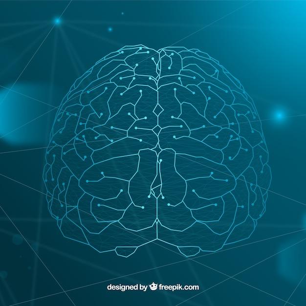 Фон искусственного интеллекта с мозгом Premium векторы