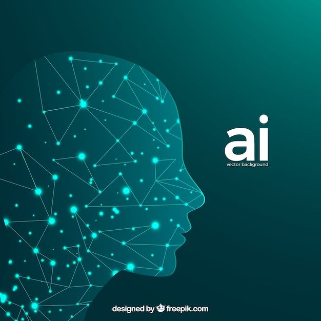 Artificial intelligence background with head Free Vector