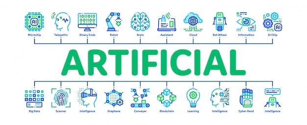 Artificial intelligence banner Premium Vector