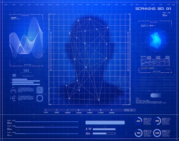 Artificial intelligence. biometric identification or facial Premium Vector