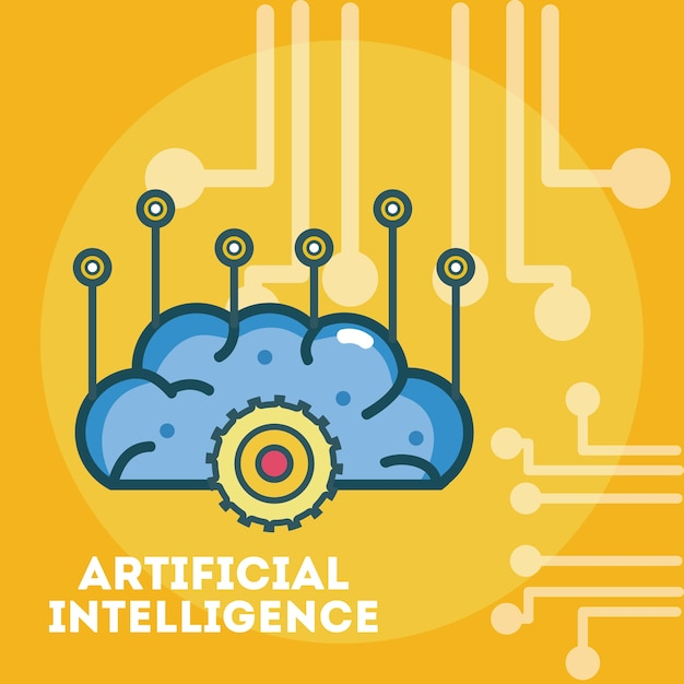 Artificial intelligence brain over microchip background Premium Vector