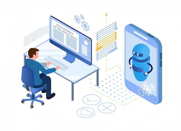 Artificial intelligence. chat bot and marketing Premium Vector