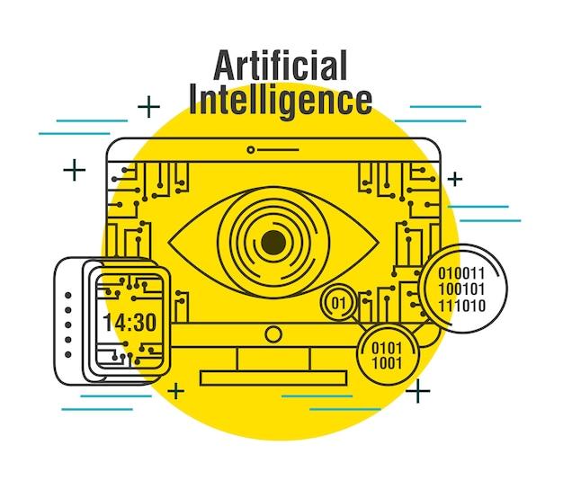 人工知能コンピュータモニタクロックデジタル Premiumベクター