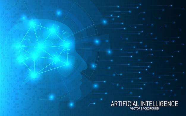 人工知能のコンセプトです。抽象的な未来的な背景。ビッグデータ 。バイナリ背景の接続で頭を進めます。デジタル脳技術。図。 Premiumベクター