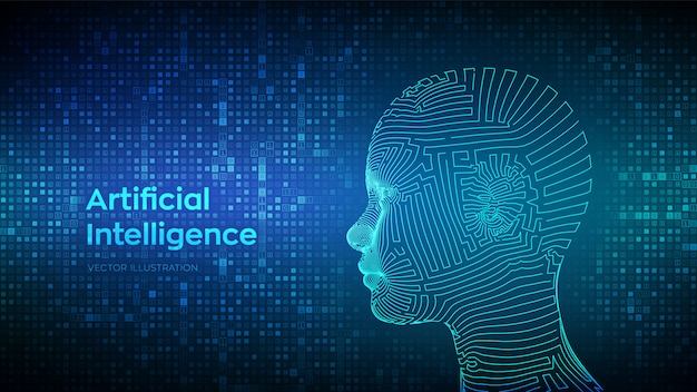 Artificial intelligence concept. abstract wireframe digital human face on binary code background. Premium Vector