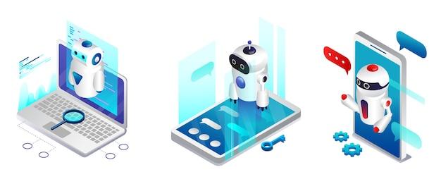 인공 지능 개념. 챗봇 및 현대 마케팅. Ai 및 비즈니스 Iot 개념. 다양한 장치의 최신 챗봇 애플리케이션. 대화 도움말 서비스. 프리미엄 벡터