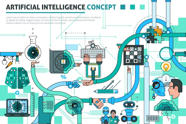 Artificial intelligence concept composition Free Vector