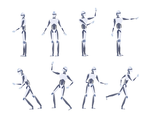 Artificial intelligence concept. futuristic technology. robot character with various views, pose and gesture. set of   illustration Premium Vector