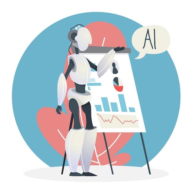 人工知能のコンセプトです。未来のテクノロジー。科学の進歩と仮想現実。サイバーキャラクターはビジネスプレゼンテーションを行います。機械学習のアイデア。図 Premiumベクター
