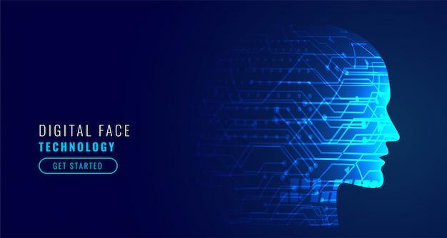 Artificial intelligence concept robotic face Free Vector