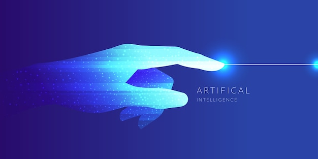 Artificial intelligence. conceptual illustration on the theme of digital technologies.  graphics Premium Vector