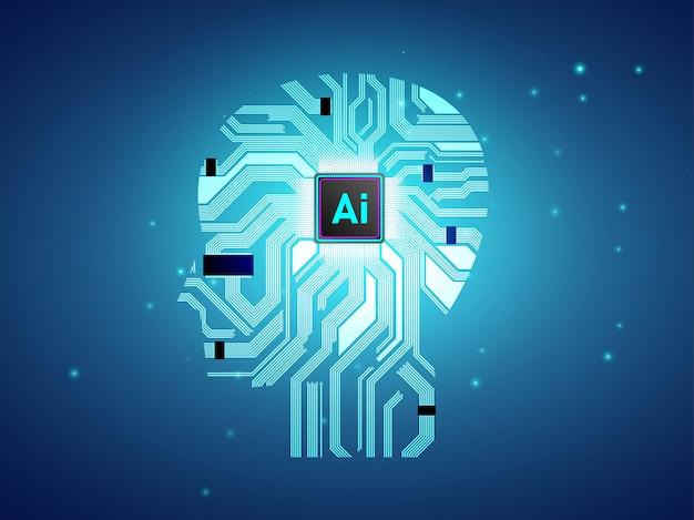 Artificial intelligence cpu with brain concept design. Premium Vector
