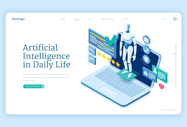 Artificial intelligence in daily life banner Free Vector