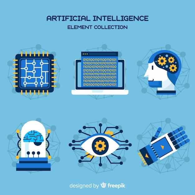 Artificial intelligence element collection in flat design Free Vector