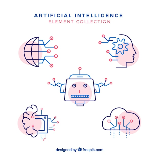 Artificial intelligence elements collection in flat style Free Vector