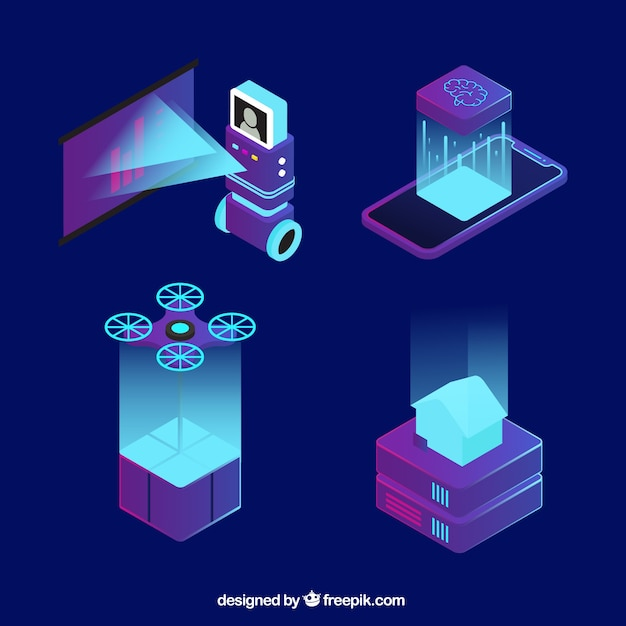 Artificial intelligence elements collection in isometric style Free Vector