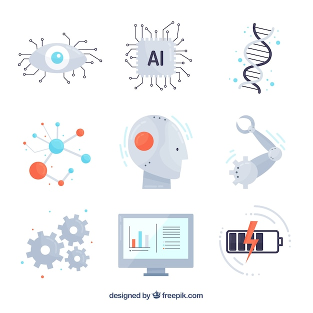 Artificial intelligence elements collection Free Vector