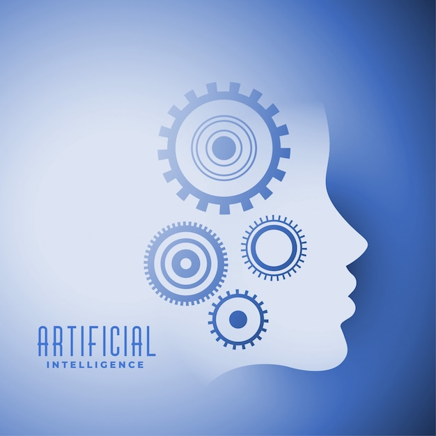 Artificial intelligence face with gears symbol design Free Vector