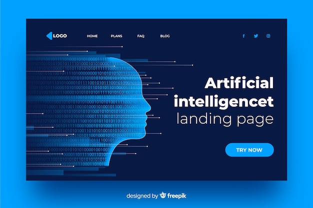 Artificial intelligence fading face landing page Free Vector
