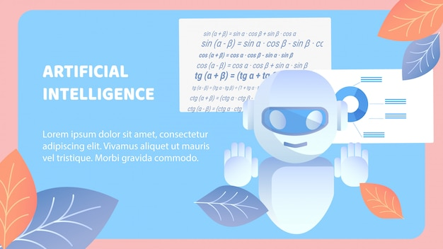 Artificial intelligence flat banner vector layout Premium Vector