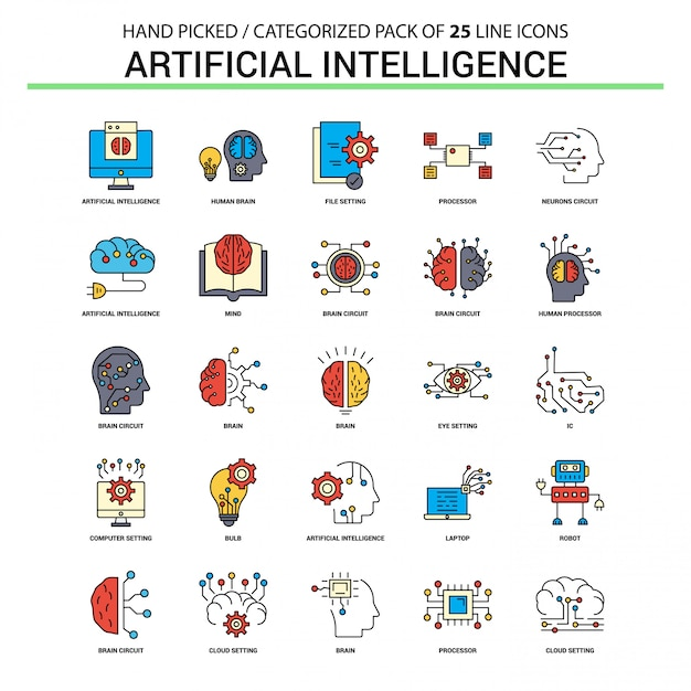 Artificial Intelligence Flat Line Icon Set - Business Concept Icons Design Free Vector