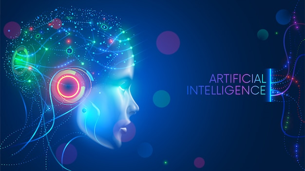 Artificial intelligence in humanoid head with neural network thinks. ai with digital brain Premium Vector