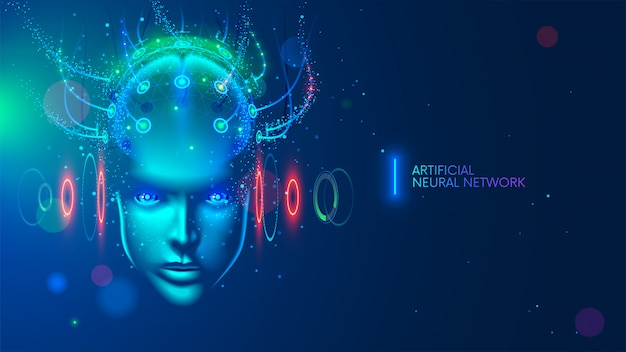 Artificial intelligence in humanoid head with neural network thinks Premium Vector