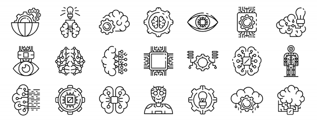 Artificial intelligence icons set, outline style Premium Vector