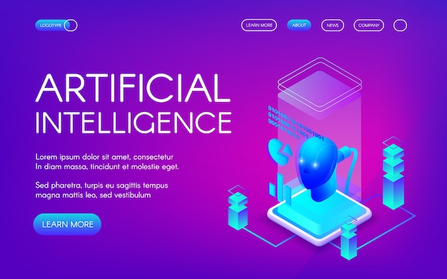 Artificial intelligence illustration of future innovation technology. Free Vector